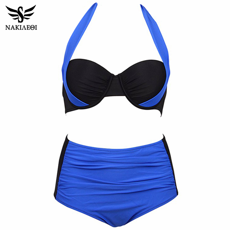 NAKIAEOI 19 New Sexy Bikinis Women Swimsuit High Waisted Bathing Suits Swim Halter Push Up Bikini Set Plus Size Swimwear 4XL 24