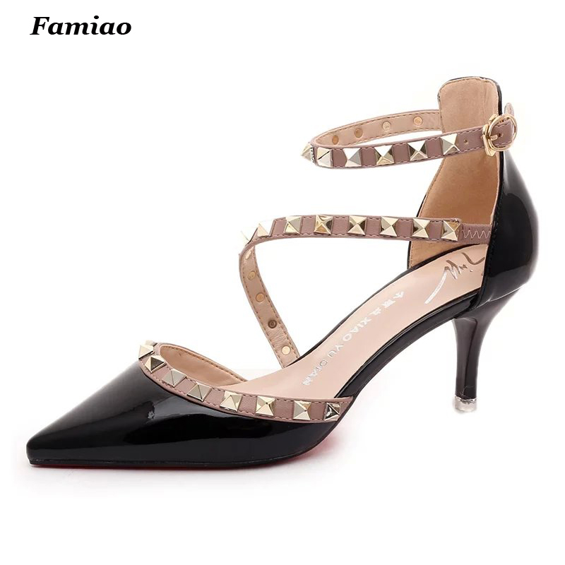 Shoes Woman Summer Gladiator Sandals Women Sexy Pointed Toe Ladies Fashion Rivets Sandals Shoes feminino chaussure<br><br>Aliexpress