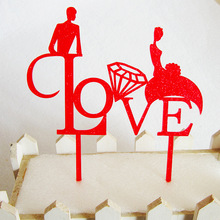 20pc Romantic Wedding Family Cake Topper Fun Bride Groom Couple Acrylic Black Toppers Anniversary Party Cake Decoration ZA3772