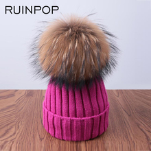 RUINPOP Pom Poms Winter Hat For Women Warm Cap Skullies Beanies Girls Hat Cotton Thick Knitted Beanies Pom Female Hat Brand Cap
