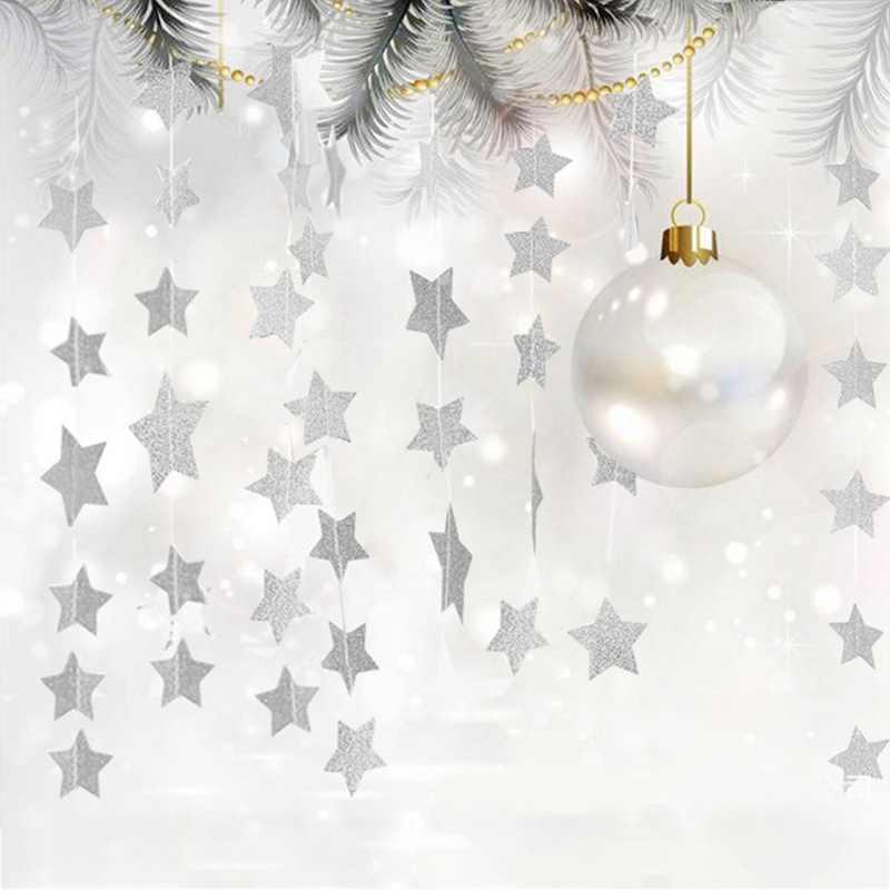 Mirror Gold Silver Star Christmas Ornaments Creative Diy Star Xmas Tree Pendant Decor Home New Year Party Window Garland Layout