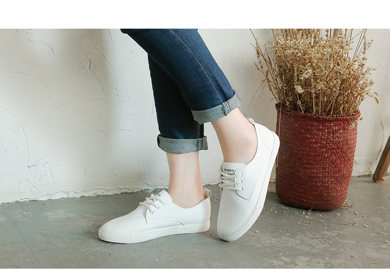 2016 New Leather Women Shoe Casual Leather Shoes For Women Flat Shoes Ladies Lacing Loafers Zapatos Mujer 37