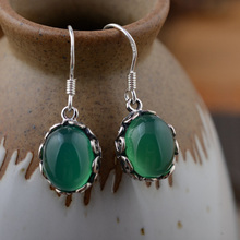 925 Sterling Silver Earring GZ Green Chalcedony Opal Drop Earrings for Women S925 Silver boucle d'oreille(China)