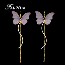 FANHUA Bohemian Style Gold-Color Long Chain Earrings Pink Blue Butterfly Drop Earrings for Women Brincos Accessories