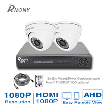 1920* 1080P HD 2 pieces Indoor Security Camera System 1080P HDMI CCTV Video Surveillance 4CH DVR Kit 20M IR AHD Camera Set