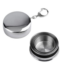 75ml Stainless Steel Keychain Folding Portable Outdoor Travel Camping Drinking Collapsible Water Bottle(China)