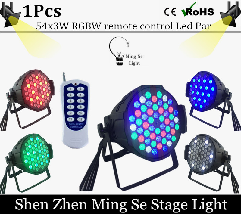 1pcs/Wholesale Remote 54X3W RGBW LED Par Light R 12 G18 B18 W6 LED PAR DMX512 controller led lights, disco lights DJ equipment<br><br>Aliexpress