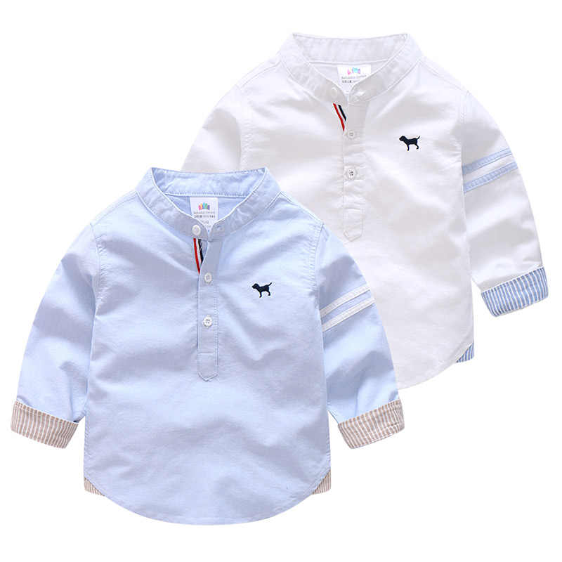 Detail Feedback Questions About 2018 Spring Autumn 2 3 4 6 8 10 Years Solid Color Cotton Mandarin Collar Long Sleeve Dog Baby Kids Children Birthday Shirts