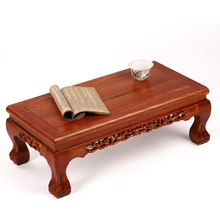 Mahogany furniture high-grade tiger foot rectangular solid wood table  Kang several windows carved antique floo
