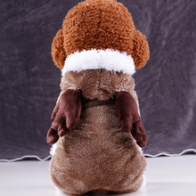 Coffee Winter Warm Dog Clothes Christmas Elk Style Pet Puppy Outfit Clothing Jacket Coat Hoodies For Poodle Teddy Small Dogs(China)