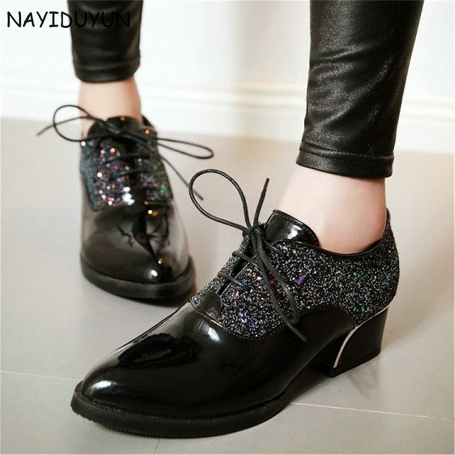 NAYIDUYUN    Fashion New Women Shiny Glitter Med Heel Oxfords Patent Leather Ankle Boots Lace Up Casual Party Office Shoes<br>