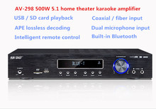 AV-298 500W 5.1 home theater audio Karaoke Digital Bluetooth Amplifier Supports Fiber coaxial U disk SD card microphone input(China)