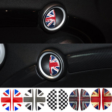 2pcs/Lot Flag Interior Door Handle Stickers Decal Decoration Car Styling For Mini Cooper R55 R56 R60 R61 Clubman Countryman(China)