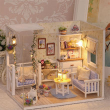 DIY Wooden Doll House Miniature Box Kit With Dust Cover LED Furnitures Handcraft New Year Gifts Building Model HT3629