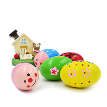 New arrival 4Pcs/Set Cute colorful wooden sand eggs toys with sound creative Baby Rattles children favorite gifts