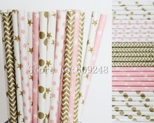 125pcs Drinking Paper Straws Mix,Metallic Gold and Light Pink Star and Dot,Gold Chevron,Vintage Wedding Baby Shower Party Decor
