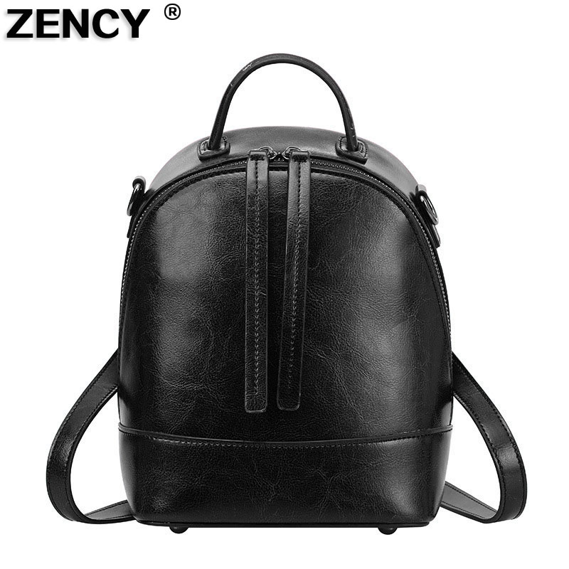 ZENCY New Fashion Small Popular Oil Wax Cow Leather Women Young Girl Ladies Designer Casual Shopping Backpack Cowhide Mochila<br>