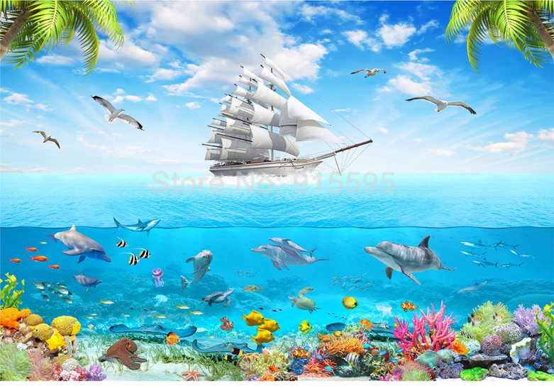 HTB1ZCgrRpXXXXcpapXXq6xXFXXXG - Custom Photo Wallpaper Sailing Dolphin 3D Underwater World Cartoon Picture Living Room Children Bedroom Decoration Wall Mural