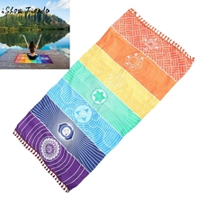 150cm*150cm wall tapestry Hot Rainbow Beach Mat Mandala Blanket Wall Hanging Tapestry Stripe Towel Yoga Super plush construction