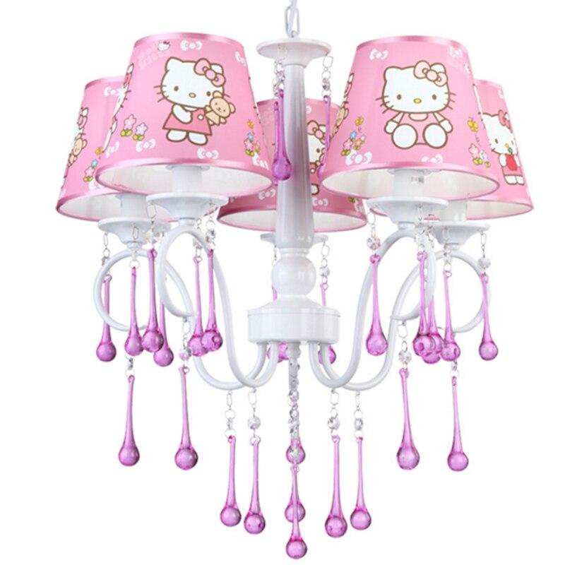 Girls Room Chandelier Children Bedroom Lamp Hello Kitty Cat Light Girl  Bedroom Light Restaurant Princess Pink Crystal Chandelier