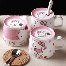 Cartoon Hello Kitty Bone Ceramic Coffee Milk Tea Mug Cup With Lid Spoon Lovely Birthday Gift Christmas Gift For Girl