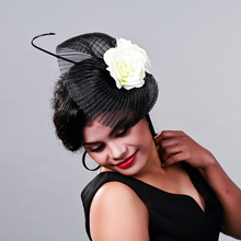 Retail Wedding Holiday Fascinator Cocktail Hat For Women French Veiling Hair Headband Vintage Fashion Lady Party Accessories(China)