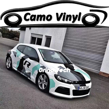 Tiffany White Black Snow Camouflage Vinyl Car Wrap Film Sticker With Air Free Bubble Matte/Glossy Finish