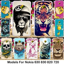 Silicone TPU phone cases for Nokia Lumia 630 Dual SIM RM-978 820 N820 878 830 N830 720 N720 N720T bag Cute Lovely Animal Pattern(China)