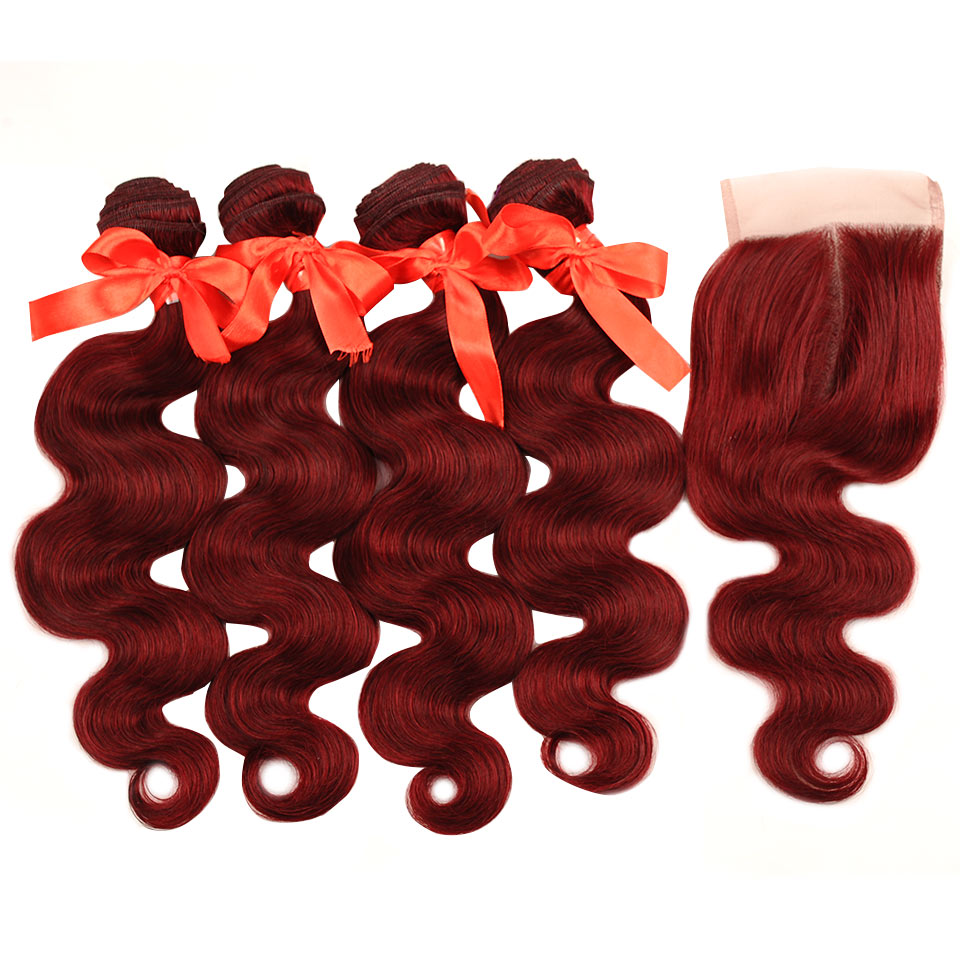 Pinshair Pre-Colored Red 99J Body Wave Brazilian Hair With Closure 4 Bundles Middle Part Lace Closure 100% Human Hair Non Remy (12)