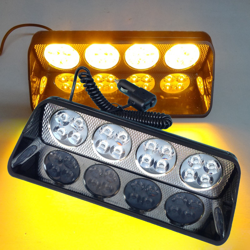 48W Led Strobe Light Car Flash Signal Police Emergency Fireman Truck Warning Light Amber Yellow Emergency Vehicle Strobe Lights<br>