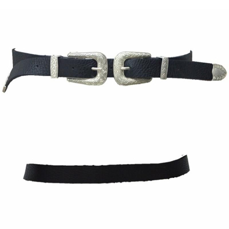 1PCS 86 cm Fashion Women Double Metal Pin Buckle Belts Vintage Strap Design PU Leather Belt Gifts For Woman