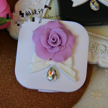 1pcs Contact lenses box manual crystal partner double DIY ziwei flowers bow eye contact YY4