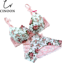 Famous Brand Sexy High Quality Women Print Bra set Silk Lace Flower Push up Big size Underwear Bow Bra and Hollow out Panties(China)