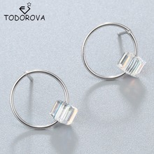 Todorova Real Pure 925 Sterling Silver Round Box Cube Earrings For Girls Christmas Gift Hot Statement Sterling-silver-jewelry