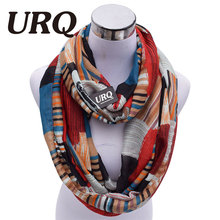 Designer Brand Fashion Infinity Scarfs Winter Warm Plaid Print Tube Scarves For Women V8A18213(China)