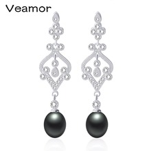 Veamor Cultured Pearl Earrings Women Super Big Size 9-10mm Paragraph Colorful Earrings, 925 Sterling Silver Pearl Earrings