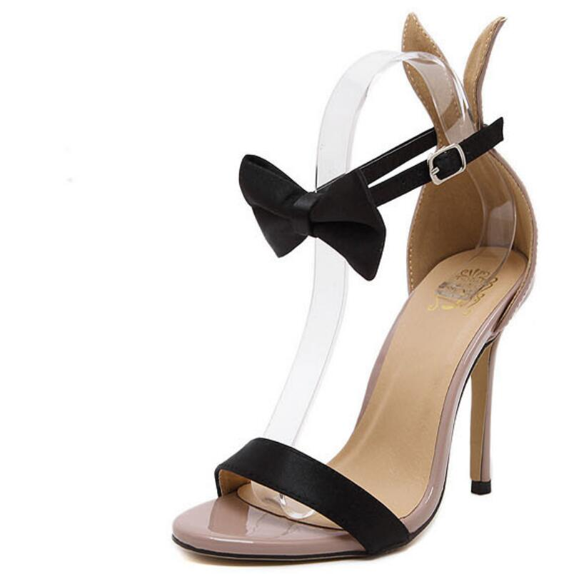 2017 Summer Sexy Women Fashion Pumps Rabbit Ears Bow Bowtie Open Toe Ankle Strap Stiletto Sandal Party High Heels Shoes Woman<br><br>Aliexpress