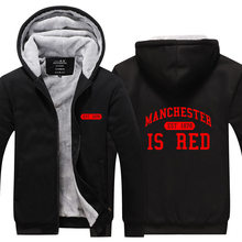 2018 United Kingdom Red Letter Hoodies Men Cotton Manchester Brand Fashion Sweatshirts Casual Slim Fit Zipper Hoodie Cotton Jack(China)