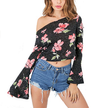 Black Slash Neck Blouse Shirts Women 2017 Sexy Floral Print Crop Top Boho One Off Shoulder Long Flare Sleeve Blouse Blusas
