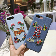 2017 Luxury cowboy Embroidery Flower Snake Bees Butterfly Tiger Leather hard phone Case For apple iPhone 6 6S 7 8 Plus(China)