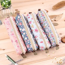 new 2016 hot sale Fashiong School Girls Flower Lace Floral Pencil Case Pen Bag Purse Cosmetic Makeup Pouch Bag free shipping