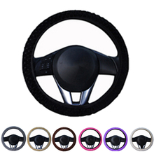 Car DIY Winter Steering Wheel Cover Anti-Slip Plush Sport Type car steering wheel covers Auto Interior Accessories