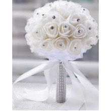 Wedding Bouquets For Sale bruidsboeket buque de noiva com strass Cheap Artificial Flower With Rhinestone White Cream Bridesmaids(China)