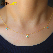 top quality gold silver color 100% 925 sterling silver matal 3mm square turquoises stone drop charm dainty silver necklace(China)