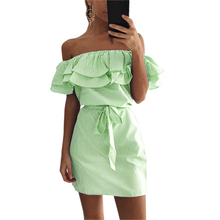 Women Striped Dress Summer Sexy Cute Ruffles Slash Neck Mini Dress Vestidos Girls Bandage Striped Party Dresses Plus Size GV563