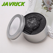 Watch Display Case Metal Round Storage Organizer Box w fashion design Silver 9cm*6cm