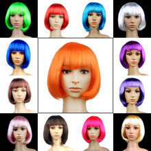 1 Pc Colorful PET Dress Up Short Hair Wave Head Wigs Christmas Halloween Party Dance Cosplay Game Decoration for Adult Kids(China)