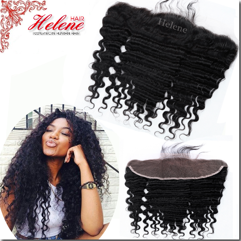 8A Indian Deep Wave Lace Frontal Closure 13x4 Virgin Human Hair Deep Wave Frontal With Baby Hair Full Lace Frontals Closure<br><br>Aliexpress