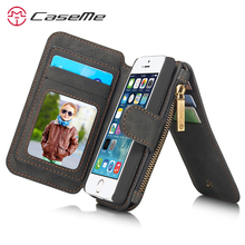 Caseme For Apple iPhone 5 Case Wallet Leather Magnetic Luxury For Apple iPhone 5S Wallet Case Leather For iPhone SE Wallet Case(China)