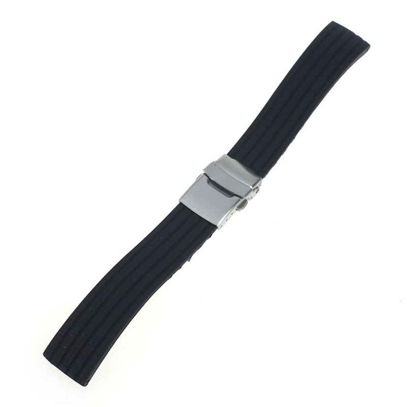 NEW Fashion watch band 18mm, 20mm, 22mm, 24mm Silicone Rubber Watch Strap Band Deployment Buckle Waterproof #M01 (1)